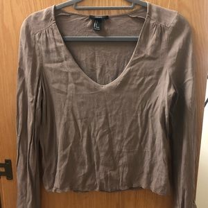 BROWN FORVER 21 LONG SLEEVE SHIRT
